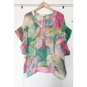 880f17aafc9f1c Zara Tops - zara silk floral see through blouse
